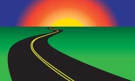 Route d'enroulement d'asphalte et paysage vert Illustration de vecteur Photographie stock libre de droits
