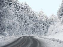 Route d'enroulement dans la forêt en hiver. image stock