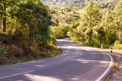 Route d'enroulement en bois d'automne avec l'arbre coloré de feuillage dans rural Photos libres de droits