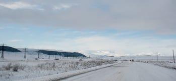 Route d'hiver dans les montagnes Image libre de droits