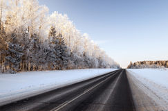 Route d'hiver, neige Images stock