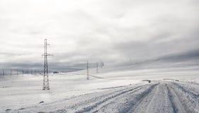 Route d'hiver sur un plateau Photographie stock libre de droits