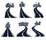 Route d'isolement de route avec diviser l'illustration de vecteur de collection d'icônes d'inscription et de paysage urbain Photo stock