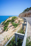 Route D400 Leading to blue Aegean Sea and Sky in Summer Stock Photography