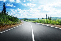 Route dans la forêt de montagne Image stock