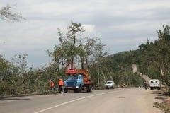 Route dans la piste de Medeo (Medeu) à Almaty après smerch, Kazakhstan Images stock