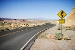 Route dans la vallée du parc d'état du feu Photo stock