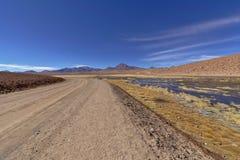 Route dans le désert à côté de l'étang et des volcans luxuriants Photos stock