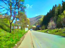 Route dans Yaremche images stock