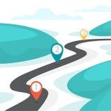 Route de route avec GPS se connecter le Idée de la navigation illustration de vecteur