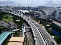 Route de côte ouest, viaduc de Keppel, Singapour Photos stock