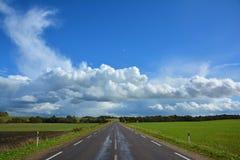 Route de campagne à deux voies d'asphalte, partant au delà de l'horizon Paysage avec la vue de l'allée non urbaine, verte champ,  images libres de droits