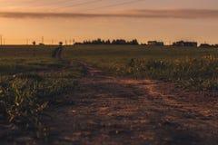 Route de campagne au coucher du soleil image libre de droits
