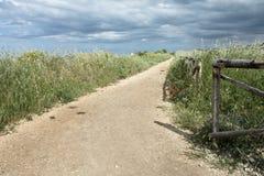 Route de campagne avec la frontière de sécurité en bois images libres de droits