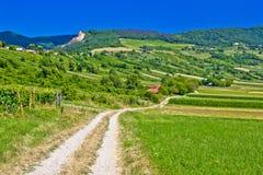 Route de campagne dans le paysage de montagne de Kalnik Photographie stock