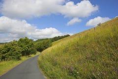 Route de campagne de hautes plaines de Yorkshire photos stock