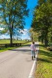 Route de campagne de marche de femme le long des fermes de cheval photos libres de droits