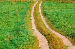 Route de campagne pendant l'été de chemin d'herbe de pré Photo stock