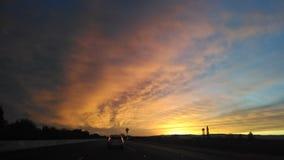 Route de coucher du soleil Photos libres de droits