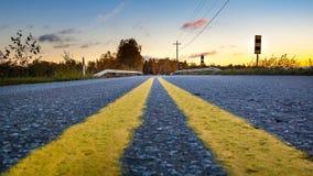 Route de coucher du soleil Images libres de droits