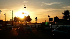 Car city sunset road Stock Footage