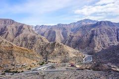 Route de crêtes de montagne de Jebel Jais images libres de droits