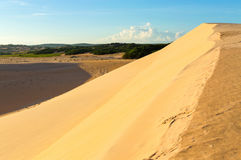 Route de dunes de sable de désert au coucher du soleil Photographie stock