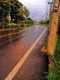 Route de matin, baisse de l'eau, Thaïlande, ayutthaya Photo libre de droits