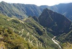 Route de montagne à Machu Picchu Image libre de droits