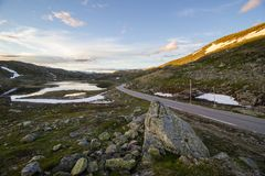 Route de montagne de Sognefjellet en Norvège du sud Image libre de droits