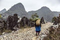 Route de montagnes dans la province Ha Giang image stock