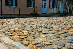 Route de pavé rond à Charleston, la Caroline du Sud Images libres de droits