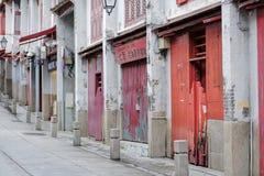 Route de Rua DA Felicidade ou rue de bonheur, de portes rouges et de fenêtre des maisons de chinois traditionnel point de rep?re  photographie stock libre de droits