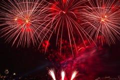 Route de Saint-Laurent de feux d'artifice de Québec photos libres de droits