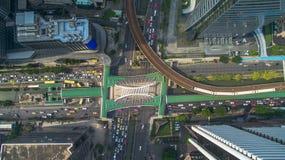 Route de Sathon de vue aérienne de station de nonsi de Chong de Bangkok Images stock