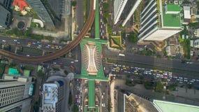 Route de Sathon de vue aérienne de station de nonsi de Chong de Bangkok Images libres de droits