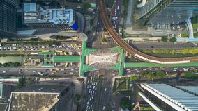 Route de Sathon de vue aérienne de station de nonsi de Chong de Bangkok Photo libre de droits
