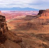 Route de traînée de Shafer en parc national de Canyonlands Photos libres de droits