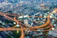 Route de ville de Bangkok de vue aérienne échangée Photographie stock libre de droits