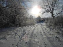 Route de Willage pendant l'hiver photographie stock