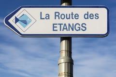 Route des étangs dans la région de Dombes, France Image libre de droits