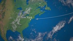 Route die van commercieel vliegtuig van aan New York op de Aardebol vliegen Het internationale reis 3D teruggeven stock illustratie