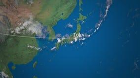 Route die van commercieel vliegtuig aan Tokyo op de Aardebol vliegen Het internationale reis 3D teruggeven stock illustratie