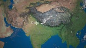 Route die van commercieel vliegtuig van Delhi tot Tokyo op de Aardebol vliegen De internationale animatie van reisintro vector illustratie