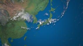 Route die van commercieel vliegtuig van Tokyo aan Doubai op de Aardebol vliegen De internationale animatie van reisintro stock illustratie