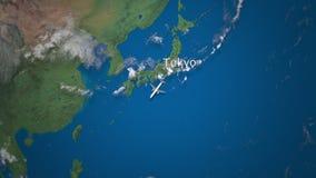 Route die van commercieel vliegtuig van Tokyo tot Djakarta op de Aardebol vliegen De internationale animatie van reisintro stock illustratie