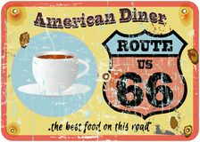 route 66 diner teken vector illustratie