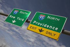 Route 95 directing to New York City and Providence Rhode Island Stock Photography