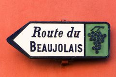 Route du Beaujolais sign Royalty Free Stock Photography