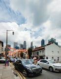 Route du sud de pont de ville de la Chine, Singapour Photographie stock libre de droits